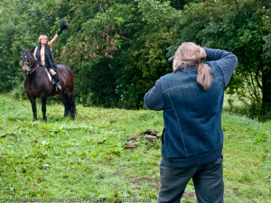 Chris Birchall, aka The Hairy Photographer, zooms in on Jane, 66, from Bylchau, doing her Lady Godiva impression.